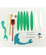 16 Vintage Hawaii Swizzle Sticks Surfboards Mermaid Dolphin Tiki - $22.28