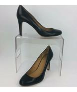 Ann Taylor Mila Black Leather Pumps Heel Size 9 M Rubber Sole Round Toe - $55.43
