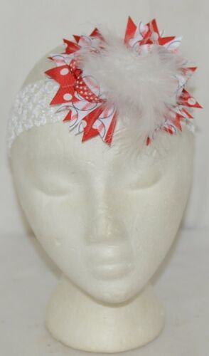 Unbranded Girl Infant Toddler Headband Removable Hair Bow Feather Red White