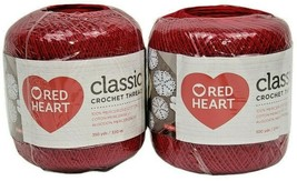 Red Heart Classic Crochet Thread Size 10, Victory Red 300 Yards New Lot of 2 - $14.84