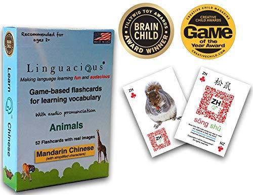 Linguacious Award-Winning Chinese Animals Flashcard Game - The ONLY One with Aud