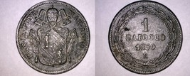 1850-VR Italian States Papal States 1 Baiocco World Coin - Pius IX - $39.99