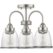 Progress Lighting Saluda 3-Light Brushed Nickel Semi-Flush Mount P350109... - £111.59 GBP