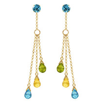 5.75 CTW 14K Solid Gold Chandelier Earrings Blue Topaz, Citrine Natural Gemstone - $412.33