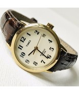 Timex Easy Reader Women's Retro Classic Watch Gold Brown Croco T20071 WORKS - $29.70