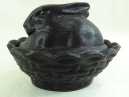 Boyd Glass Bunny Salt Dip Ebony Satin Glass Covered Salt  4/11/1984 - $21.49