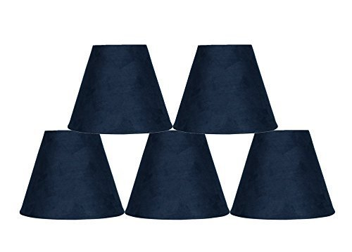 Urbanest Set of 5 3-inch by 6-inch by 5-inch Suede Clip-on Chandelier Shades, Na