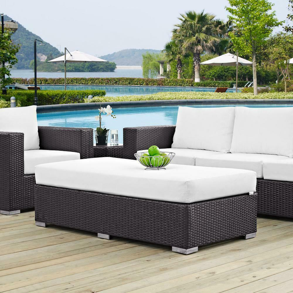Outdoor Seating Furniture Patio Rectangle Ottoman in Espresso with White Cushion