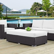 Outdoor Seating Furniture Patio Rectangle Ottoman in Espresso with White... - $228.50