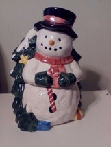 Snowman  Cookie Jar With A Candy Cane & A Christmas Tree With Snow On Top. - $22.44