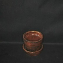 Copper Ceramic Round Pot w/Saucer attached 2 3/4'' by Sophie's Orchids - $12.85