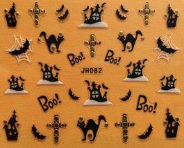 BANG STORE Nail Art 3D Decal Stickers Halloween Boo Black Cat Haunted House Bat  - $3.68