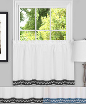 """Camden Macrame Trimmed Kitchen Window Curtain 36"""" Tier Pair - $17.29"""