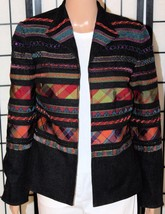 Coldwater Creek Women's Size 4 Black Open Front Embellished Jacket Blazer Euc - $27.08