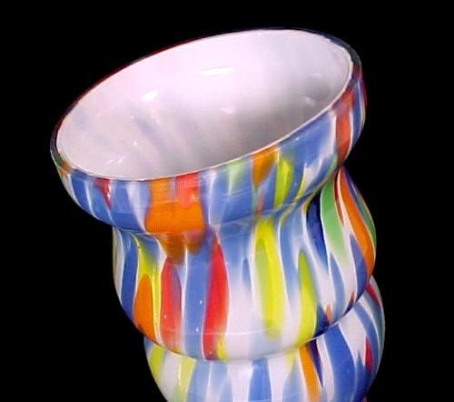Czechoslovakia Czech Cased Art Glass End of Day Vase Bohemian Splatter