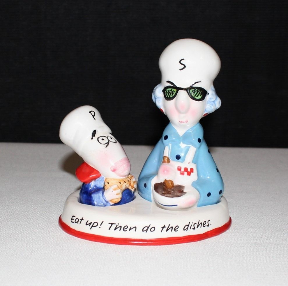 "Primary image for Hallmark Maxine & Floyd ""Eat Up! Then do Dishes"" Salt & Pepper w/ Caddy Set"