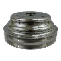 Chevy Small Block Long Water Pump Double Groove Aluminum Crankshaft Pulley image 1