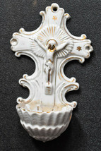 ⭐ antique French crucifix ,holy water font ceramic⭐  - $48.51