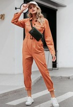 Sashes orange pocket sports cotton jumpsuit  - $51.90