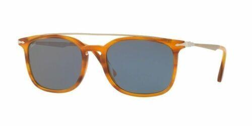 Persol Gafas de Sol Unisex PO3173S 960/56 Ámbar/Havana Marco Luz Lente Azul