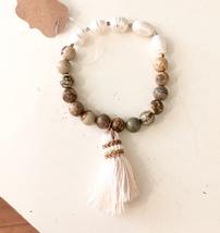 Stretch Gemstone Bracelet, Stretch Pearl Bracelet, Stretch Bracelet with Tassel