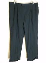 Bill Blass Menswear Men Pants Pleated Black 41 Sh X 29.5 100% Worsted Wool 74353 - $9.79
