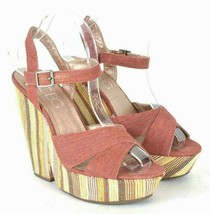 BCBG Paris Platform High Heel Sandals Rust Tone Canvas Fabric Shoes Wome... - $24.74