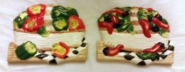 Rare Set Of 2 Different 3D Wall Art Decor Ceramic Plaques, Baskets Of Peppers - $9.89
