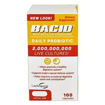 Bacid Daily Probiotic | 100 Capsules | Dietary Supplement for Digestive ... - $49.09