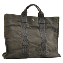 Hermes Her Line Mm Tote Bag Canvas Gray Auth 9731 - $190.00