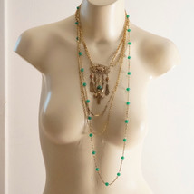 Vintage Venetian Millefiori Jade Glass & Chain Assemblage Necklace - $65.00