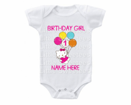 Hello Kitty Birthday Onesie Custom Name Shirt 1st 2nd 3rd etc Pink Writing - $15.00