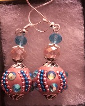 Blue Zircon and Pink Swarovski Drop Dangle Earrings  - $15.00