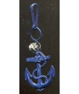 Vintage 80s Bell Charm Ships Anchor Blue Plastic Clip On For Necklace Pe... - $4.45