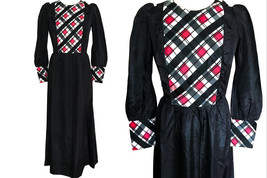 60s Edwardian Style Black Red White Taffeta Diamond Check Plaid Detail R... - $47.00