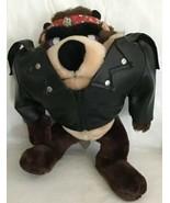 Vintage Taz Tasmanian Devil Plush '90 Mighty Star Korea Biker Jacket Ban... - $19.79