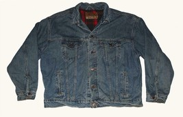 "VTG ""AUTHENTIC"" Label Levi's Red Black Plaid Lined Denim Trucker Jacket ... - $57.99"