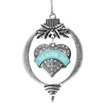 Inspired Silver Teal Senior 2020 Pave Heart Holiday Ornament - $14.69