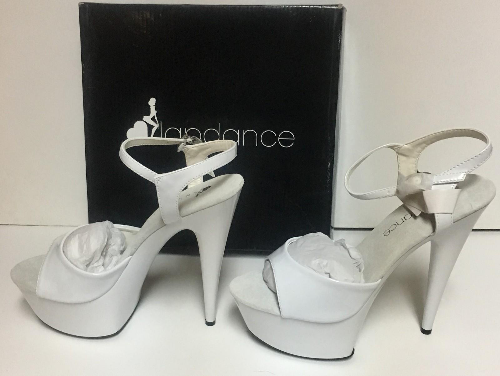 "Lapdance 6"" White Stiletto Heels Quick Release Strap Sz 8 NIB"
