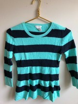 J. Crew Crewcuts 14 Green Blue Stripe Peplum Sweater - $19.95