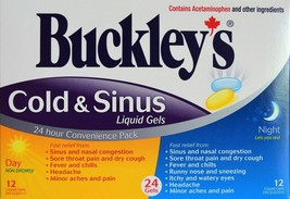 BUCKLEY'S COLD & SINUS LIQUID GELS 24/pack Day/Night From Canada - $14.80
