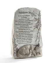 "11.6"" Memorial Up Right Cat Sentiment Rainbow Bridge Stone Statuary Poly Resin"