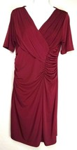 Ellen Tracy Gathered Sheath Dress M Medium Cranberry or Maroon S/S Chris... - $12.50