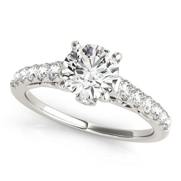 14k White Gold Scalloped Single Row Band Diamond Engagement Ring (1 3/8 cttw)