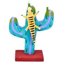 Handmade Alebrijes Oaxacan Wood Carved Painted Folk Art Lizard w Cactus Figurine