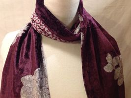 Gorgeous Combo Scarf Velvet and Satin floral vintage rose abstract color choice image 15