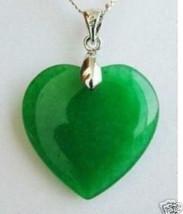 USA Fashion Jewelry Green Jade Heart Shape Silver Emerald Pendant Necklace - $9.89