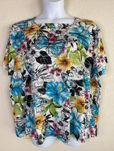 Alfred Dunner Womens Plus Size 2X Floral Ruffle Layered Blouse Short Sleeve - $16.83