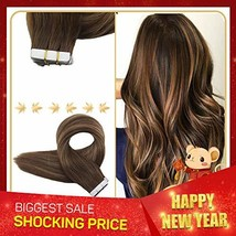 """Easyouth Tape Remy Hair Extensions 18"""" 50g 20Pcs Per Package Colour 4 Dark Brown image 1"""