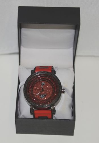 Techno Pave Coliseum 7195 Iced Out Red Black Watch Silicone Band